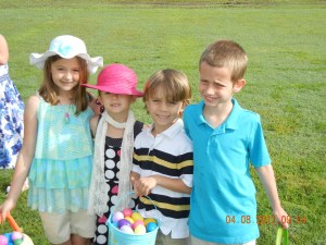 The boys with our bestfriend's girls at our church egg hunt.